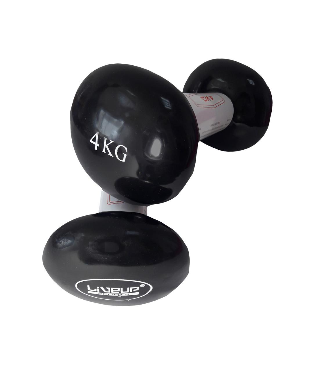 Гантели LiveUp Vinyl Dumbbell EGG HEAD 4 кг Черный (LS2001-4)