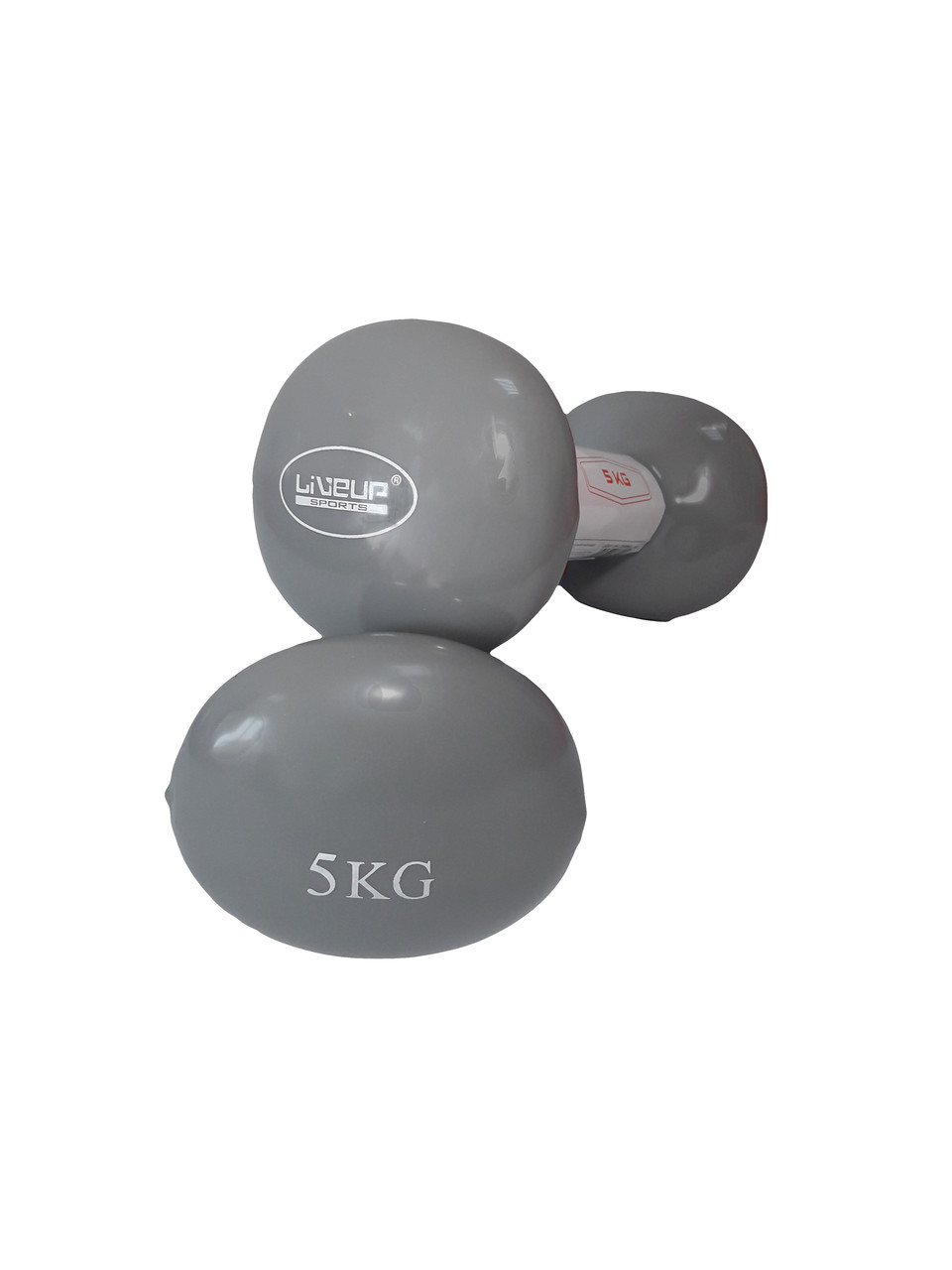 Гантели LiveUp Vinyl Dumbbell EGG HEAD 5 кг Серый (LS2001-5)