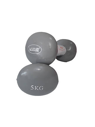 Гантели LiveUp Vinyl Dumbbell EGG HEAD 5 кг Серый (LS2001-5), фото 2