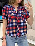 Женская рубашка хлопок с коротким рукавом в клетку (в расцветках) (размеры с 42 по 50), фото 3