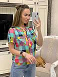 Женская рубашка хлопок с коротким рукавом в клетку (в расцветках) (размеры с 42 по 50), фото 2
