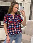 Женская рубашка хлопок с коротким рукавом в клетку (в расцветках) (размеры с 42 по 50), фото 5