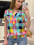 Женская рубашка хлопок с коротким рукавом в клетку (в расцветках) (размеры с 42 по 50), фото 6