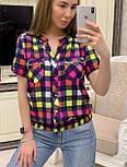 Женская рубашка хлопок с коротким рукавом в клетку (в расцветках) (размеры с 42 по 50), фото 7