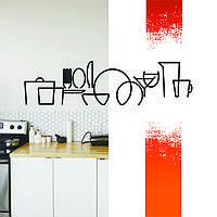 """Декоративна дерев'яна картина абстрактна модульна полігональна Панно """"Кухонне приладдя"""""""