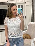 Жіноча біла мереживна блуза прямого крою, фото 2