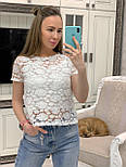 Жіноча біла мереживна блуза прямого крою, фото 3