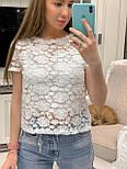 Жіноча біла мереживна блуза прямого крою, фото 4