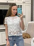Жіноча біла мереживна блуза прямого крою, фото 5