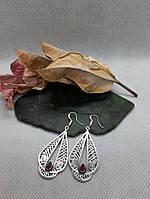 Рубин серьги с натуральным камнем рубин Индия в серебре