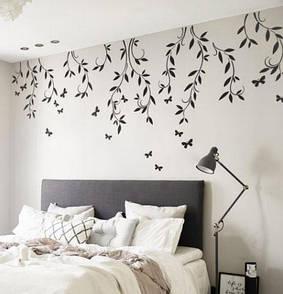 Наклейка на стену Ветви дерева (лианы, стикер дерево, бабочки, наклейка веточки дерева с листьями)