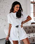 Жіноча літнє плаття-футболка (туніка) з поясом-затяжкою, фото 3