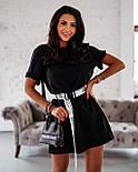 Жіноча літнє плаття-футболка (туніка) з поясом-затяжкою, фото 4