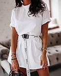 Жіноча літнє плаття-футболка (туніка) з поясом-затяжкою, фото 6