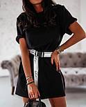 Жіноча літнє плаття-футболка (туніка) з поясом-затяжкою, фото 7