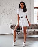 Жіноча літнє плаття-футболка (туніка) з поясом-затяжкою, фото 5