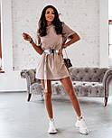 Жіноча літнє плаття-футболка (туніка) з поясом-затяжкою, фото 2