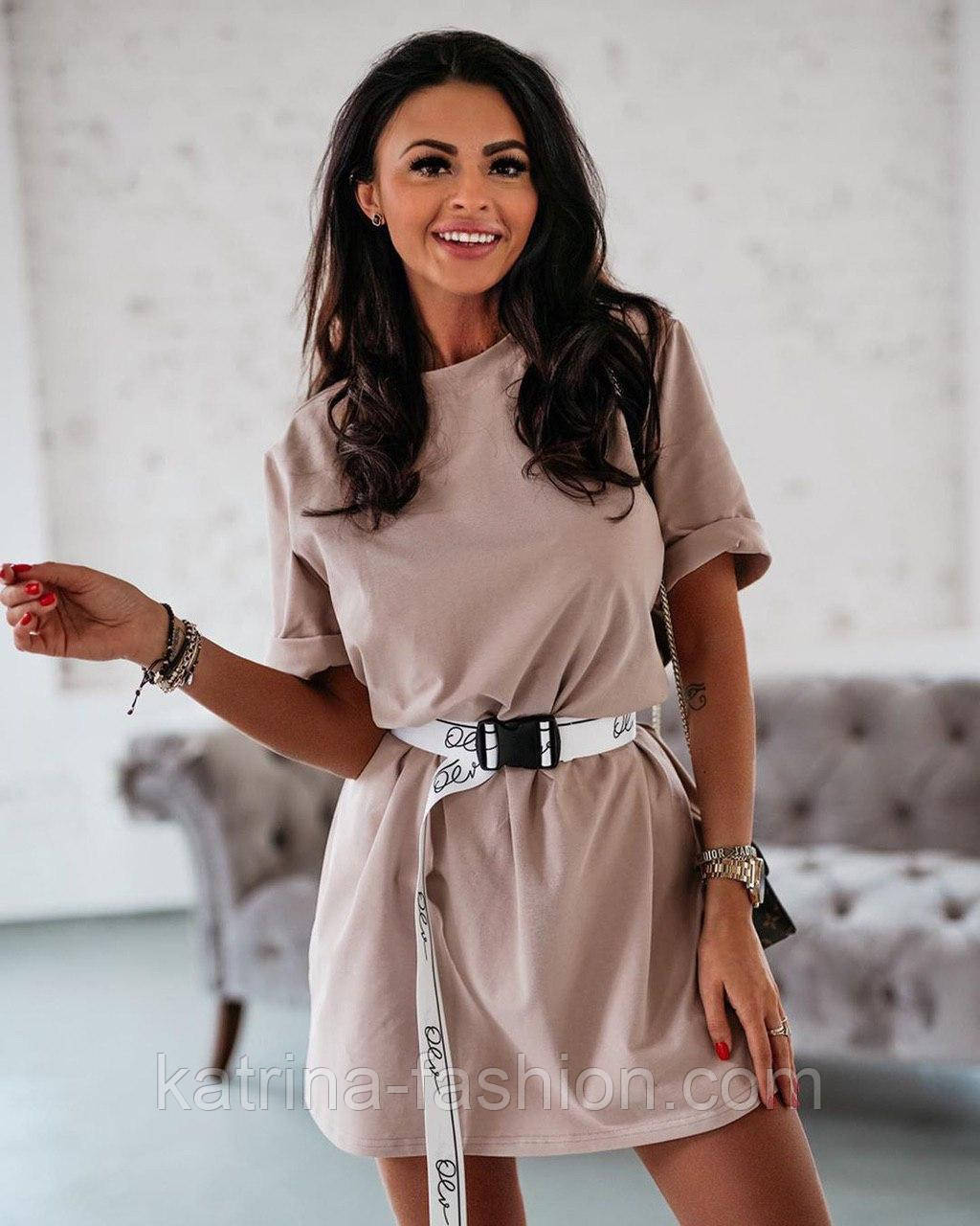 Жіноча літнє плаття-футболка (туніка) з поясом-затяжкою