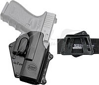 Кобура Fobus для Glock 17/19 поворотная с креплением на ремень/кнопкой фиксации скобы спускового крючка