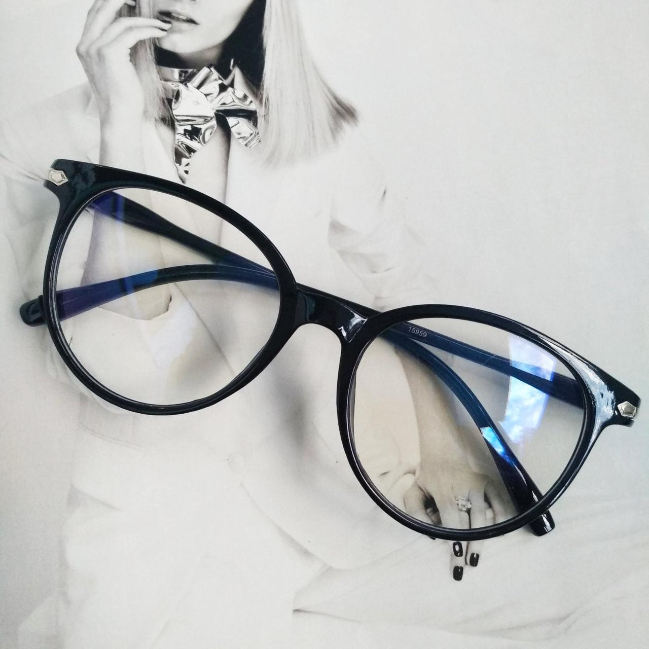 Имиджевые очки  круглые с  прозрачной линзой анти блик Чёрный глянец