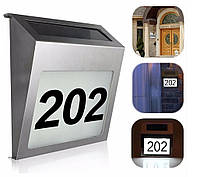 Светильник указатель номера дома фасадный с подсветкой на солнечной батарее Адресная табличка