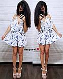 Женский летний комбинезон шортами / ромпер с открытыми плечами и цветочным принтом (в расцветках), фото 2
