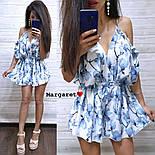 Женский летний комбинезон шортами / ромпер с открытыми плечами и цветочным принтом (в расцветках), фото 7