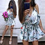 Женский летний комбинезон шортами / ромпер с открытыми плечами и цветочным принтом (в расцветках), фото 8