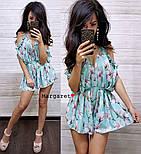 Женский летний комбинезон шортами / ромпер с открытыми плечами и цветочным принтом (в расцветках), фото 9