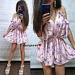 Женский летний комбинезон шортами / ромпер с открытыми плечами и цветочным принтом (в расцветках), фото 10