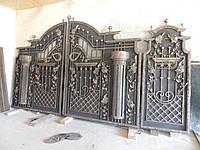 Эксклюзивные кованые ворота с коваными колонами и листьями
