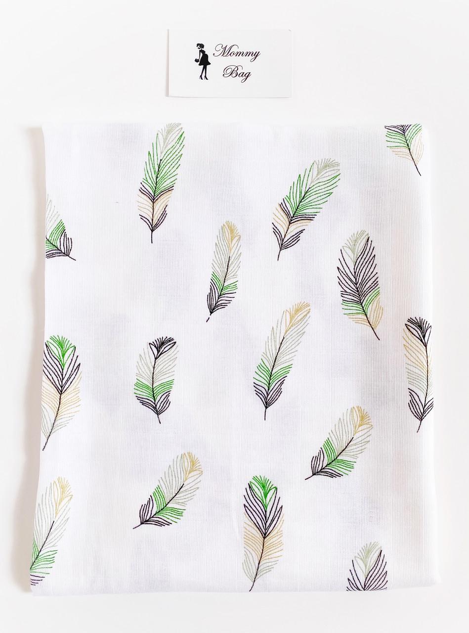 Муслиновая пеленка 100х80 см Перья #2