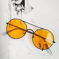 Солнцезащитные  круглые очки с цветной линзой оранжевый