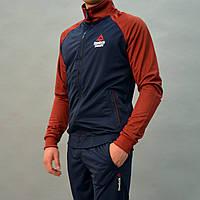 Размеры: 46. Мужской спортивный костюм Reebok (Рибок) | Турция, Трикотаж-лакостм-мтеммно-синий