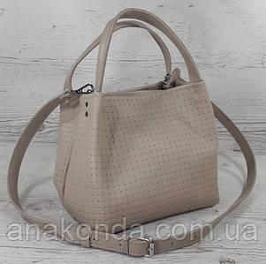 524 Натуральная кожа, Сумка женская бежевая с тиснением 3D кожаная бежевая женская сумка мягкая светлый беж