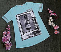 Стильная футболка на девочку на рост 128-176