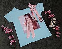 Стильная футболка на девочку на рост 128-176 мята