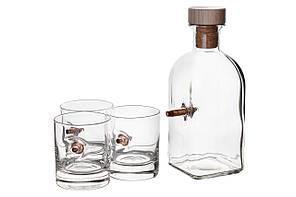 Набор графин и 3 стакана для виски с пулей