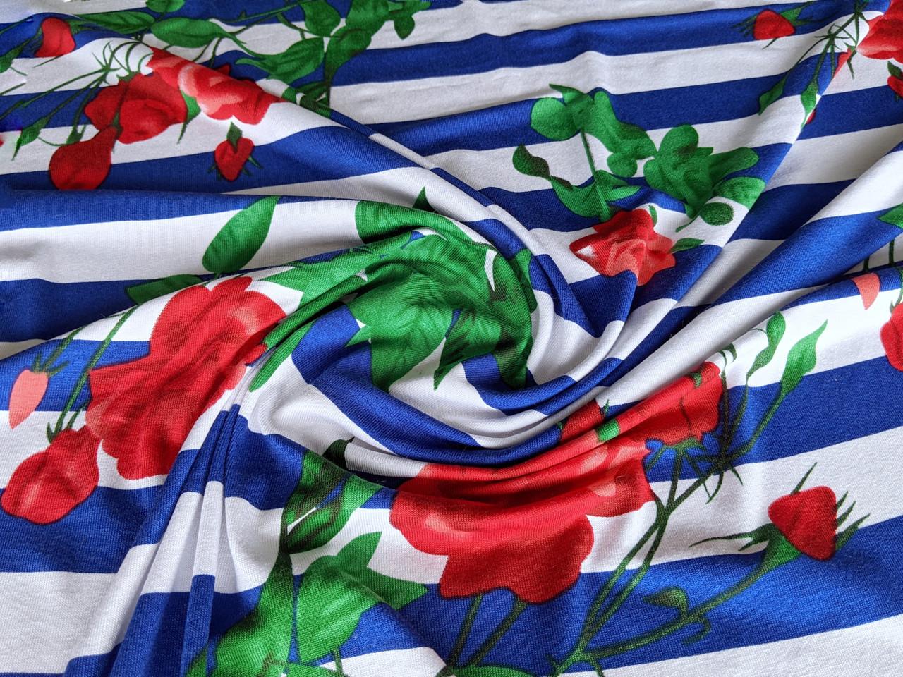 Трикотаж вискозный цветочки на полоске, сине-белый с красным