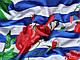 Трикотаж вискозный цветочки на полоске, сине-белый с красным, фото 3