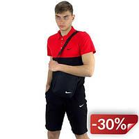 Комплект Футболка Polo+ Шорты+ Барсетка Nike Реплика M Красно-черный (KomReebRed 1/2)