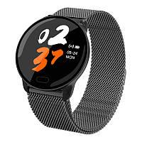 Умные часы фитнес браслет Lemfo K9 Metal с измерением сердечного ритма и давления (Metal-Black), фото 1