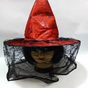 Карнавальная Шляпа Ведьмы с Вуалью Колпак Для Вечеринки