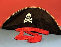 Карнавальная Шляпа Головной Убор Пирата с Завязкой для Вечеринки, фото 1