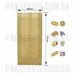 Пакет паперовий 21(2x4)х10 крафт 1/1000