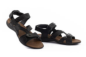 Женские сандали кожаные летние черные-коричневые StepWey 7561, фото 3