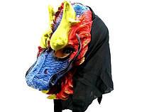 Карнавальная Резиновая Маска Дракон с Золотыми Рогами Прикол для Вечеринки, фото 1
