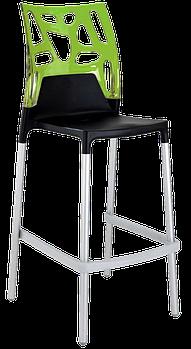 Барный стул Papatya Ego-Rock черное сиденье, верх прозрачно-зеленый