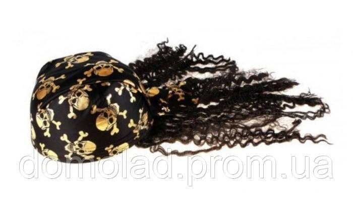 Карнавальная Шляпа Головной Убор Бандана Пирата с Волосами для Вечеринки Упаковка 10 шт.