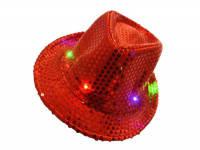 Карнавальная Шляпа Головной Убор Диско Светящаяся с Пайетками для Вечеринки, фото 1